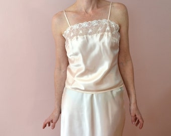 Vintage Lingerie 80's Warner's Perfect Measure Camisole & Half Slip Set Liquid Satin  Vtg Small Medium   - VL121