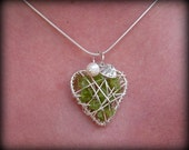 Peridot Pendant, wire-wrapped Heart Necklace with Pearl Charm,  - August birthstone