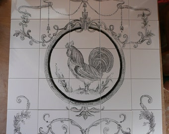 "French Country Rooster Handpainted Tile Mural - 30"" x 30"" black and off-white"