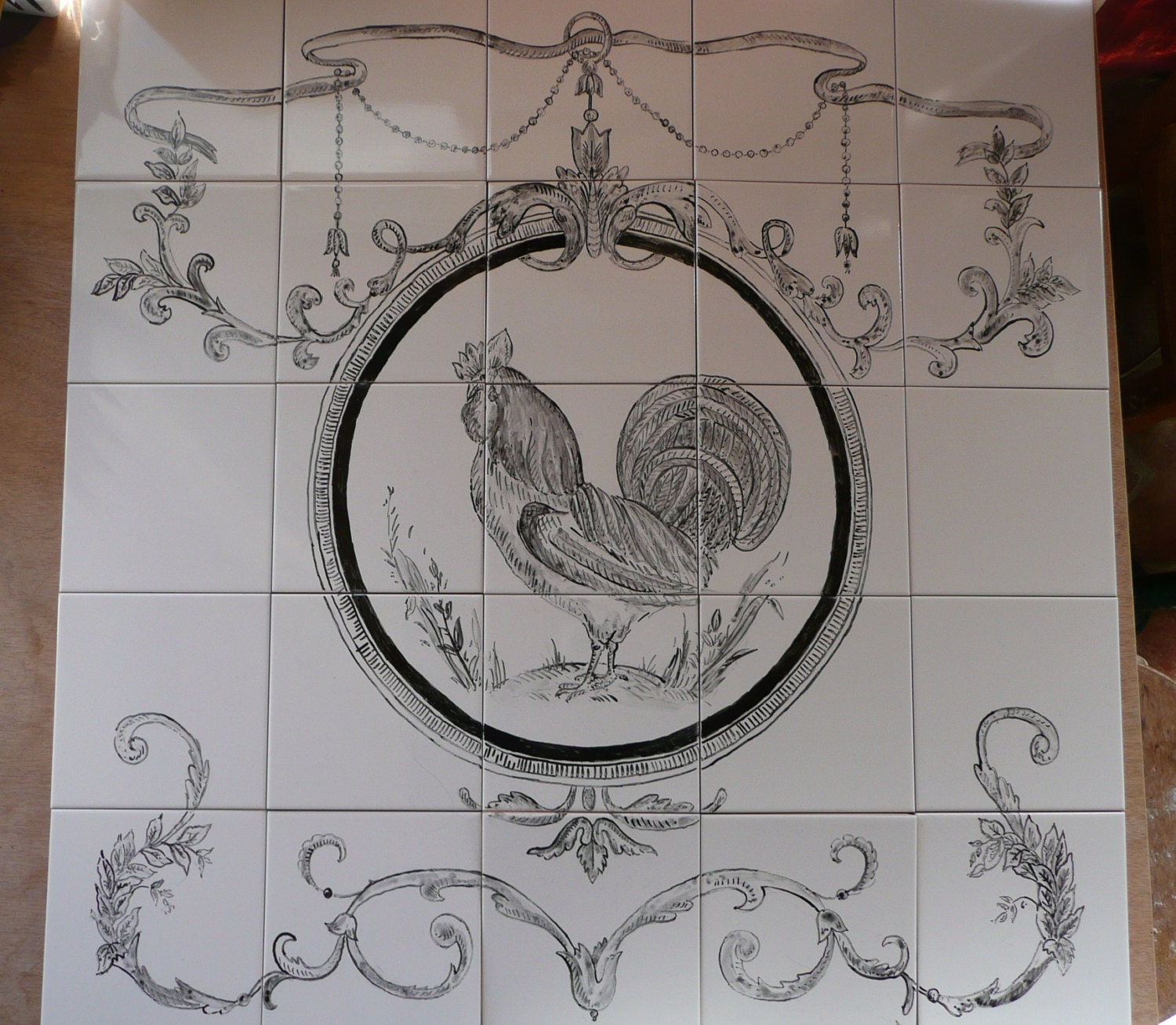 French Country Rooster Handpainted Tile Mural 30 X
