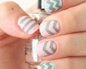 NAILED IT DECALS: 1 Sheet of 44 Chevron and Stripe  Nail Decals (You Pick the Color)