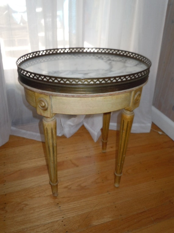 Vintage 60 S French Provincial Marble Top Side Table With