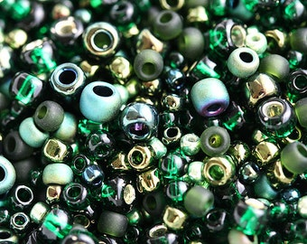 Seed MIX, Toho beads - Bonsai Green Black - N 3209, green glass beads - 10g - S107