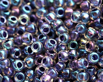 Violet Seed beads, Toho, size 11/0, Inside color Rainbow Crystal - Tanzanite Lined, N 181, glass beads - 10g - S166