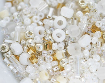 Seed Beads Mix, TOHO - White Golden - N 3212, rocailles, japanese glass beads - 10g - S273