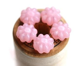 20pc Pink Flower beads, czech glass flat Opal pink daisy flower - 9mm - 1232