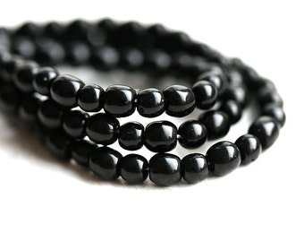 Black beads mix, Czech glass, round spacers, druk, small - 4-3mm - approx.100Pc - 0482