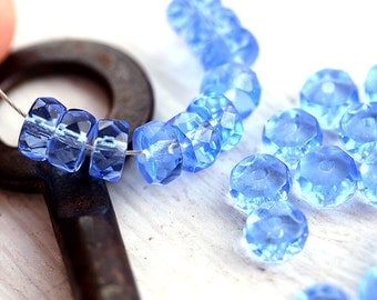 Light Sapphire Blue Rondelle beads, brown fire polished czech glass spacers - 6x3mm - 25Pc - 1313