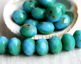 Czech glass beads - Turquoise blue and green, picasso finish, mixed color, spacers, donuts, rondelle - 6x9mm - 12pc - 0540