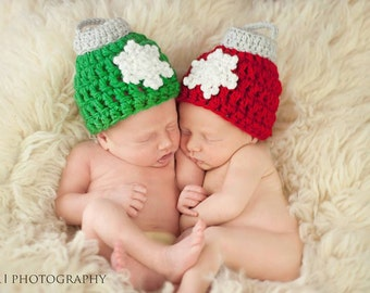 Snowflake Ornament Hat, baby snowflake hat, ornament hat prop, christmas hat, christmas ornament hat, newborn christmas prop