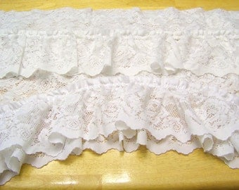 Vintage White Lace Swag Valances / Curtains Set of Two / Wide Width / Victorian Home Decor / Beautiful White Lace