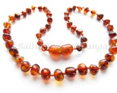 Baltic Amber Baby Teething Necklace, Rounded Dark Cognac Color Beads