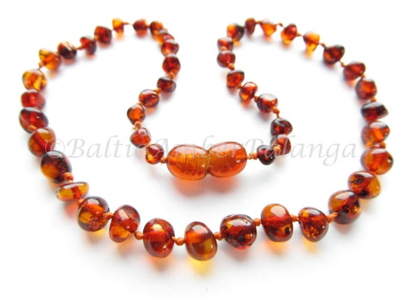 Baltic Amber Teething Necklace, Rounded Dark Cognac Color Beads