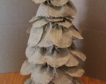 Tall Burlap Tree..Holiday Prim Tree..Burlap Country Home..Prim Burlap Decor..Holiday Centerpiece..Christmas Home Decor ..Up Cycled Item