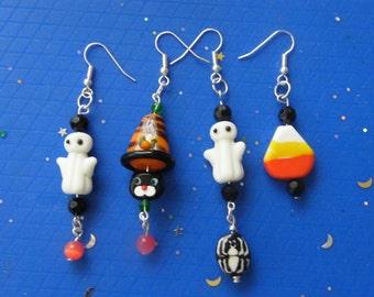Halloween Earrings! Ghost, Cat Witch, Ghost & Spider, Candy Corn, Lampwork Glass, Dangle Earrings! Spooky, Sweet, Earrings!
