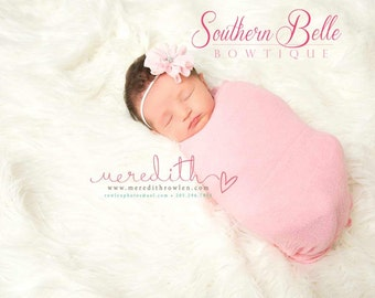 pink Baby headband, infant headband, newborn headband - light pink shabby chiffon ruffle flower and rhinestone center headband