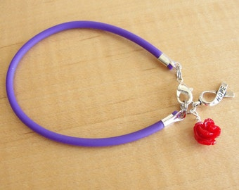 Cystic Fibrosis Awareness Bracelet - Purple Rubber with Red Rose - Donations for Cystic Fibrosis Foundation