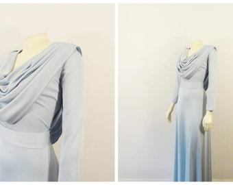 Vintage Dress Formal Full Length Dress Draping Neck & Back Belted Blue Satiny Long Sleeve Dress Size Medium to Large