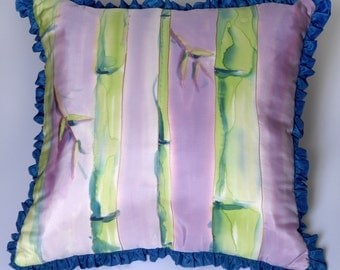 HANDPAINTED SILK DOWN Pillow in lavender, blue and green
