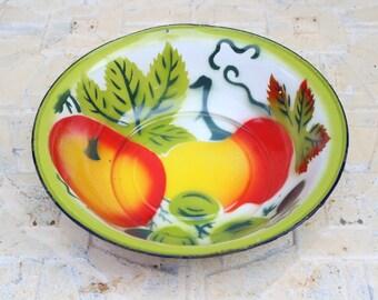 Vintage Farmhouse Round Enamel Colorful Vegetable Tomato Serving Bowl Pan
