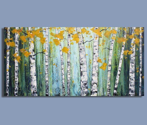 original painting abstract painting landscape painting birch