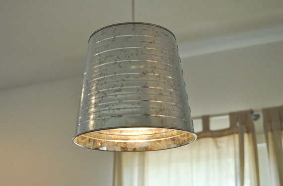Galvanized Bucket Pendant Light Fixture