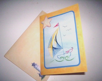 Stitched sailboat birthday card