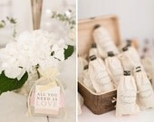 All You Need Is Love Wedding Favor Bags, Set of 10 Cotton Wedding Favor Bags