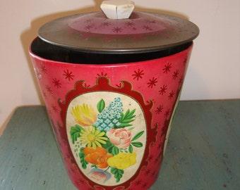 Vintage Rose Pink Biscuit Tin England