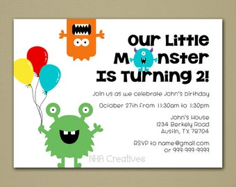 Monster Birthday Invitation - Personalized DIY Printable Digital File
