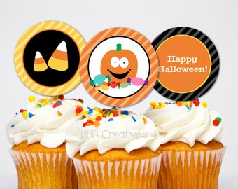 Halloween Pumpkin Cupcake Toppers - DIY Printable Digital File