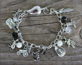 Cowgirl, Country Girl Charm Bracelet, Western, Custom, Handmade by Okrrah