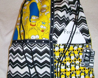 Marge Simpson and the rest of the family yellow ripstop nylon drawstring backpack with front zipper pocket