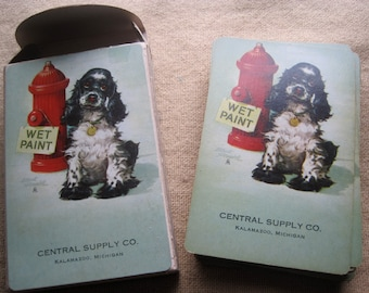 Wonderful Vintage Advertising Deck of Playing Cards featuring Dog at Fire Hydrant