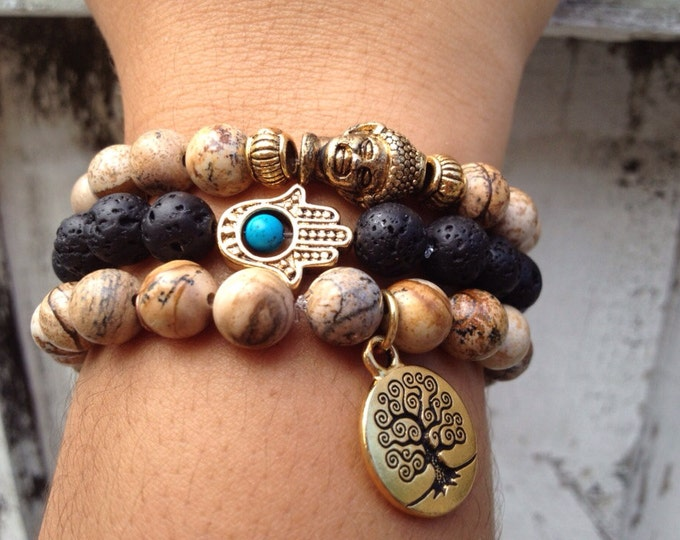 Buddha, Tree of Life & HAMSA Bracelet Set