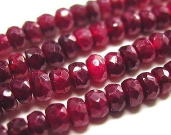 Red Ruby Beads Drilled 4mm 15 Pcs Faceted Rondelle Genuine Precious Gemstone Pigeon Blood Color Take 20% Off Jewelry Supplies USA Seller