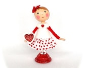 Clothespin Doll Valentine Girl Red Pink Hearts cassteam