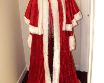 Red Crushed Velvet Santa Claus Costume