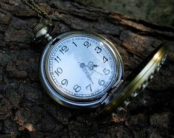 Sands of Time Djinn of the Past, Present & Future Fantasy Jewelry Art Pocket Watch Artisan Steampunk Wiccan Pagan Genie New Age Spiritual