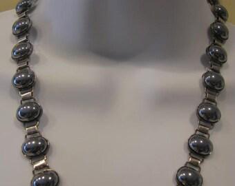 """Vintage Handmade Genuine Hematite w.Book Chain Sterling Necklace, 20"""" 54 gr"""