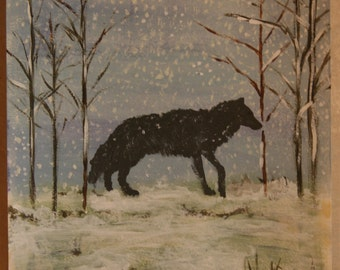Winter walk in the snow, acrylic painting, wolf, size 9x12