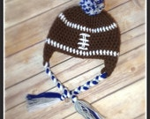 Team Colors Crochet Football Hat - Custom Made Any Size Any Color