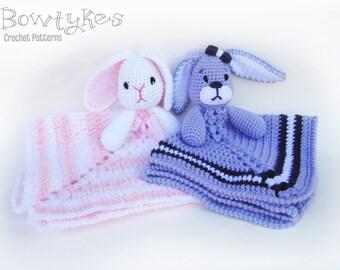 Baby Bunny Lovey CROCHET PATTERN instant download - blankey, blankie, security blanket, rabbit
