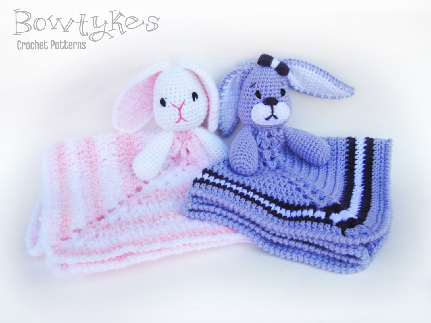 Free Crochet Pattern For Animal Security Blanket : Baby Bunny Lovey CROCHET PATTERN instant download blankey