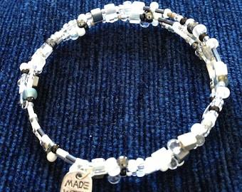 Monochrome Spiral Beaded Bracelet