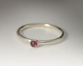Dainty Garnet Ring - Stackable Sterling Silver Garnet Ring - 3mm Garnet