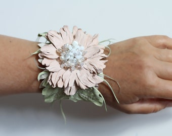 Ivory white leather bracelet with flower art.12