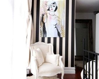 "Fashion Contemporary Figurative Art Print on Canvas, Painting 36"" x 24"" on Canvas, Wall Art, Fashion Home Decor"