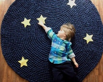Kids Rug Reach for the Stars Navy Cotton Crochet Rug with Yellow Stars
