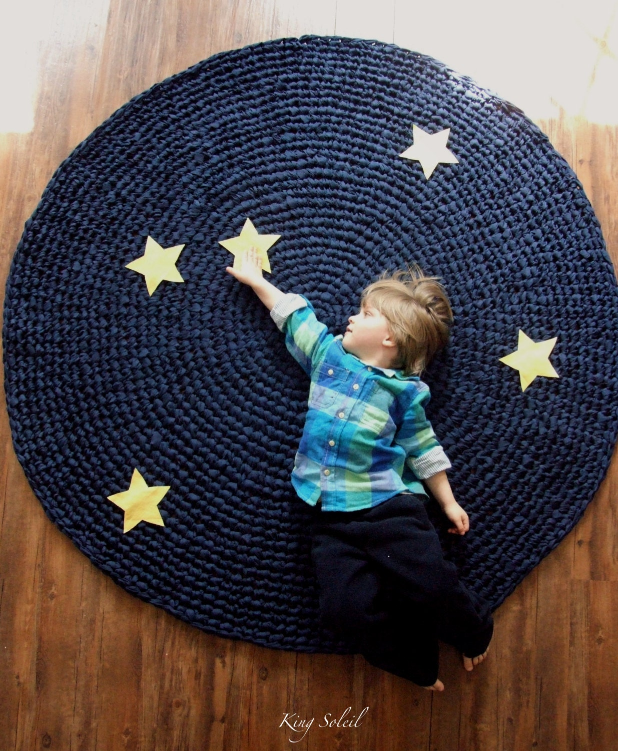 Kids Rug Reach For The Stars Navy Cotton Crochet Rug With